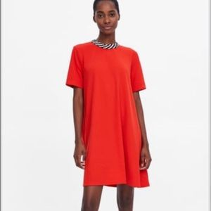 NWT Zara Orange Dress With Black and White Collar